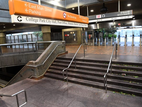 The MARTA station in College Park, usually busy on