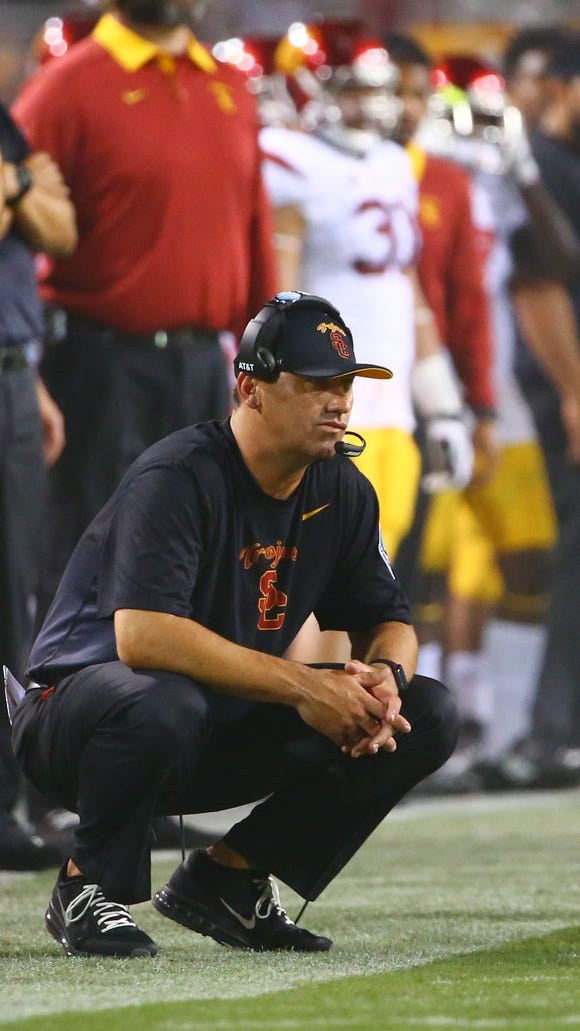 Sep 26, 2015; Tempe, AZ, USA; Southern California Trojans head coach Steve Sarkisian reacts against the Arizona State Sun Devils at Sun Devil Stadium. The Trojans defeated the Sun Devils 42-14. Mandatory Credit: Mark J. Rebilas-USA TODAY Sports
