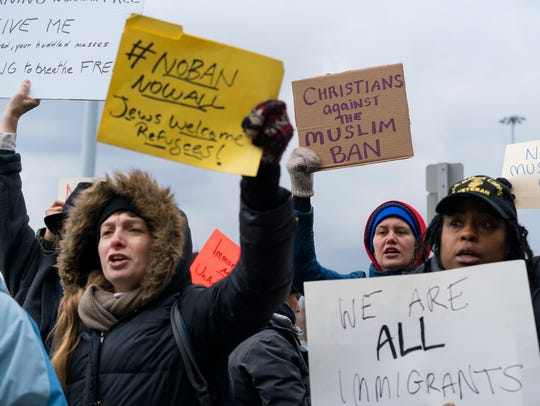 Protesters assembled at John F. Kennedy International