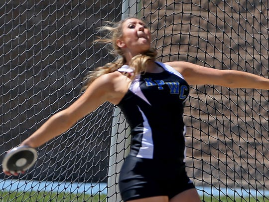 Kiana Phelps, of Kingsley-Pierson/Woodbury Central, owns the state's all-time best mark in the girls' discus.