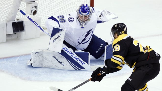 Lightning goaltender Andrei Vasilevskiy prepares to make a stop on Bruins right wing Ondrej Kase during Saturday's Stanley Cup playoff game in Toronto. Kase was acquired by Boston before the trade deadline to give the team more scoring but he has not lived up to that expectation.