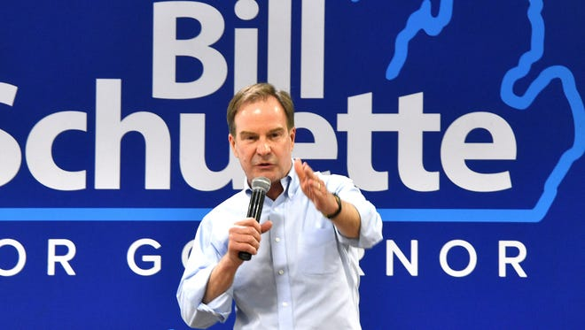 Republican gubernatorial hopeful Bill Schuette, currently the Michigan attorney general, speaks at a campaign event on the Weir farm in Southern Michigan near Hanover.