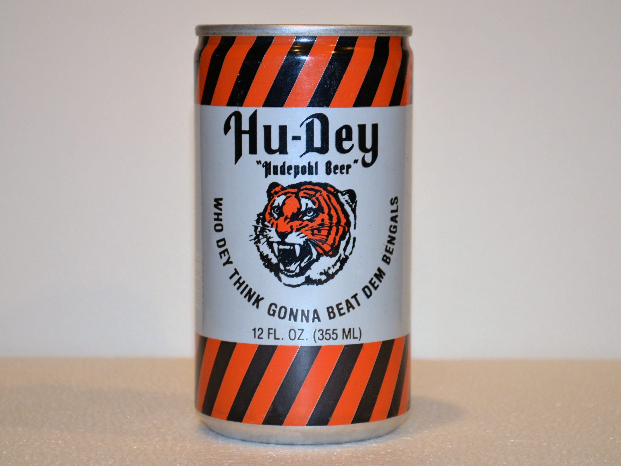 """Hudepohl Brewing celebrated the Super Bowl-bound Bengals during the 1981 season with the first Hu-Dey beer can.  Why was it a good association for the brand? """"Because all sports is entertainment for the fan and who doesn't like a good beer while watching sports to relax?,"""" said Greg Hardman, president and CEO of Christian Moerlein Brewing Co. """"I do."""""""