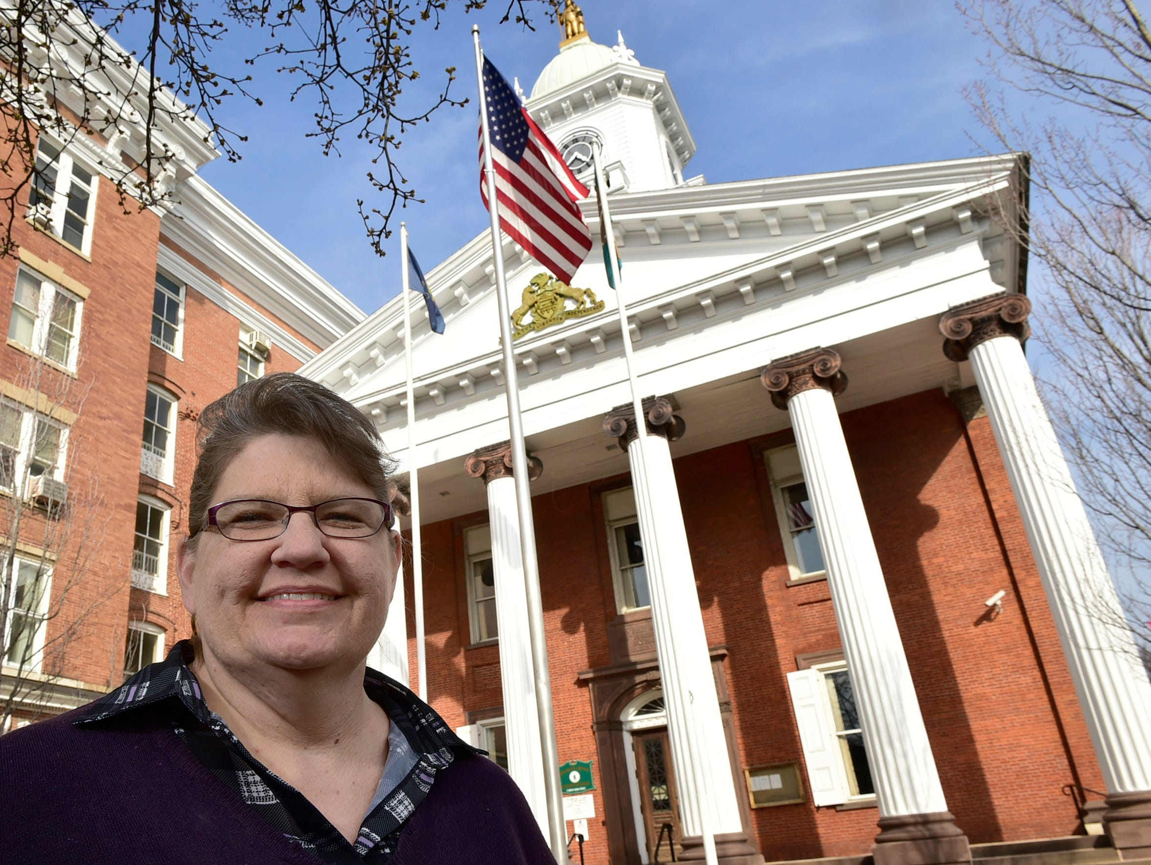 Beth Shupp-George hangs out downtown Chambersburg on