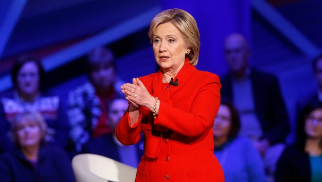 Democratic presidential candidate Hillary Clinton speaks during a CNN town hall at Drake University in Des Moines, Iowa, Monday, Jan. 25, 2016.