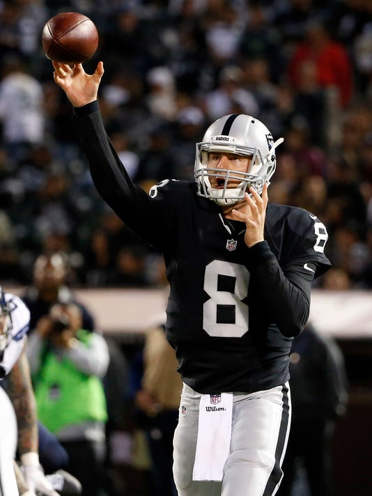 Oakland Raiders quarterback Connor Cook (8) throws against the Seattle Seahawks during the first half of a preseason NFL football game Thursday, Sept. 1, 2016, in Oakland, Calif. (AP Photo/Tony Avelar)