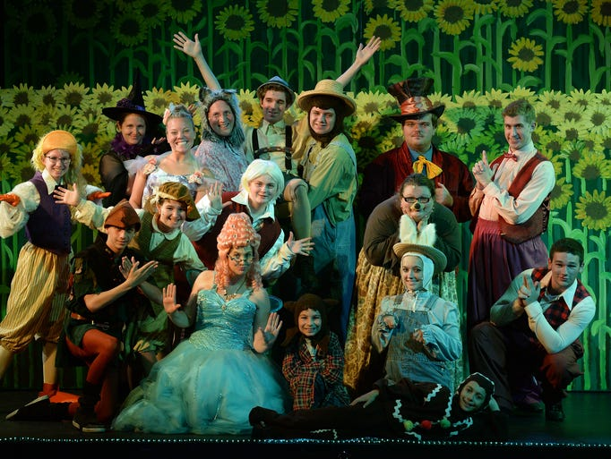 "Performers pose together on stage before rehearsing ""Shrek the Musical"" at Richmond Civic Theatre Tuesday, Aug. 12, 2014."