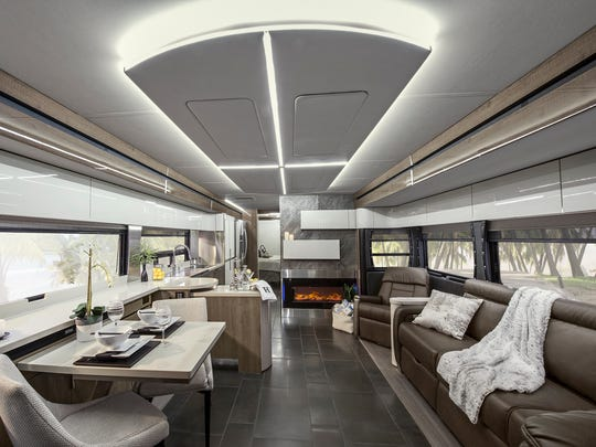 The contemporary interior of Winnebago's new Horizon