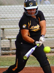 Alamogordo junior Bianca Granados makes contact with a pitch Friday afternoon.