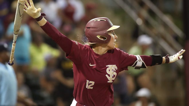 FSU's Carsyn Gordon celebrates her home run in the 11th inning against LSU during the second game of their NCAA Super Regional series at JoAnne Graf Field on Saturday, May 26, 2018.