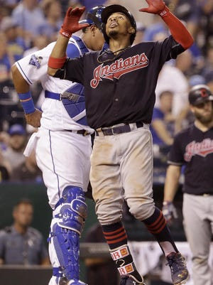 Cleveland Indians' Francisco Lindor celebrates as he crosses the plate after hitting a solo home run during the ninth inning Tuesday. The division-leading Indians put the game away in the fifth with three runs on a double, three singles, a walk and a fielder's choice.