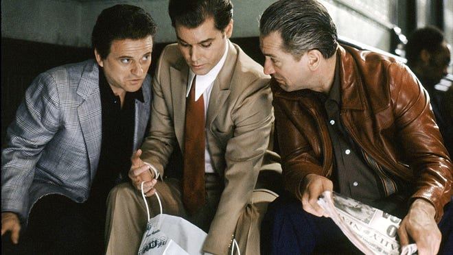 From left, Joe Pesci, Ray Liotta and Robert De Niro star in 1990's GoodFellas, now being released on Blu-ray.