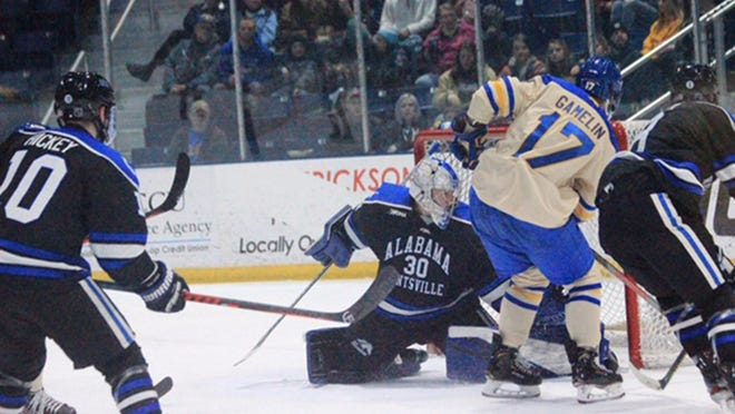Lake Superior State's Chase Gamelin goes to the net during a game against Alabama-Huntsville last season. The Lakers have been picked to finish 6th in the WCHA this upcoming season in both the coaches' and media polls. LSSU opens the season at home against Michigan Tech on Nov. 21-22.