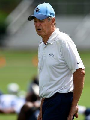 Titans assistant head coach/defense Dick LeBeau watches practice at Saint Thomas Sports Park on June 17 in Nashville.