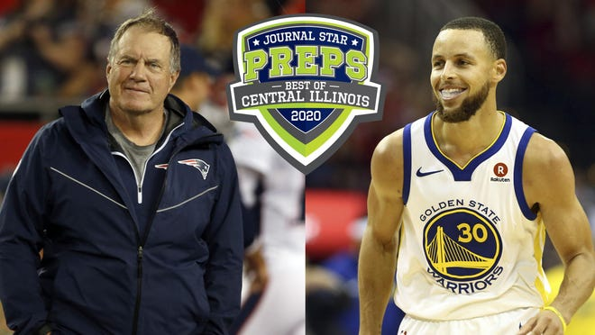 Super Bowl champion coach Bill Belichick, left, and NBA champion Stephen Curry have been added as presenters for the Best of Central Illinois Preps online show.