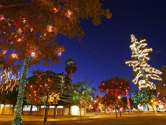 Murphy Park in downtown Glendale glows with Christmas
