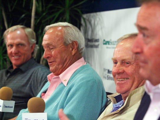 Golf legends Greg Norman, Arnold Palmer, Jack Nicklaus