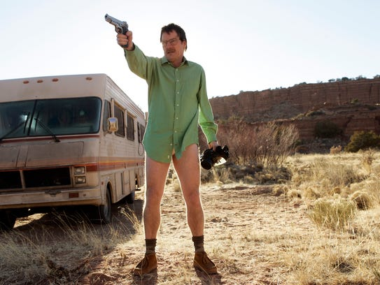 Walter White, played by Bryan Cranston, next to the