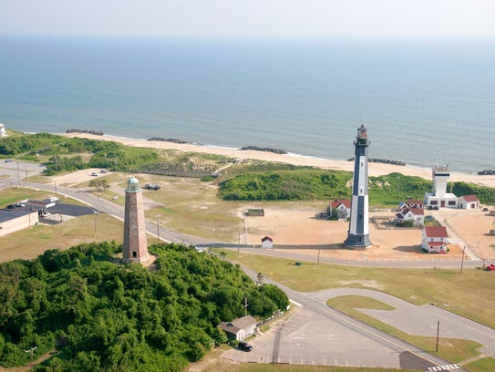 The Cape Henry Lighthouse towers at 157 feet tall,