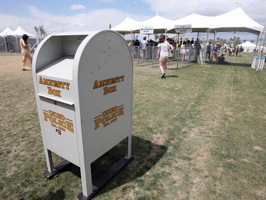This 2012 photo shows an Indio police amnesty box for