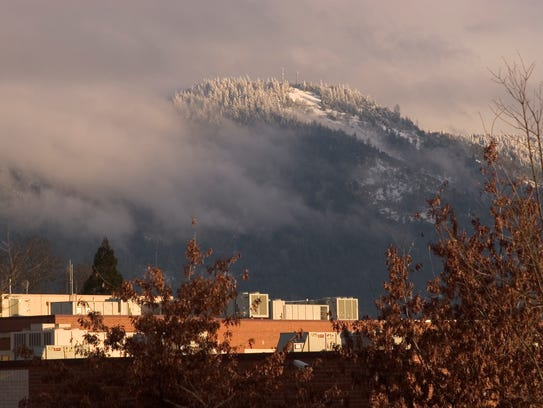 File photo: A fresh coat of snow covers Mt. Baldy above