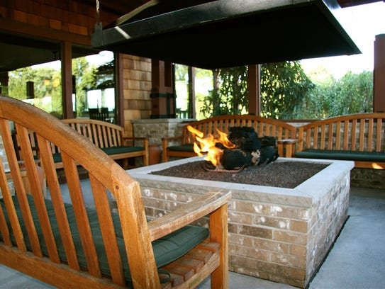 The outdoor fire pit at Salt Creek Grille in Rumson.