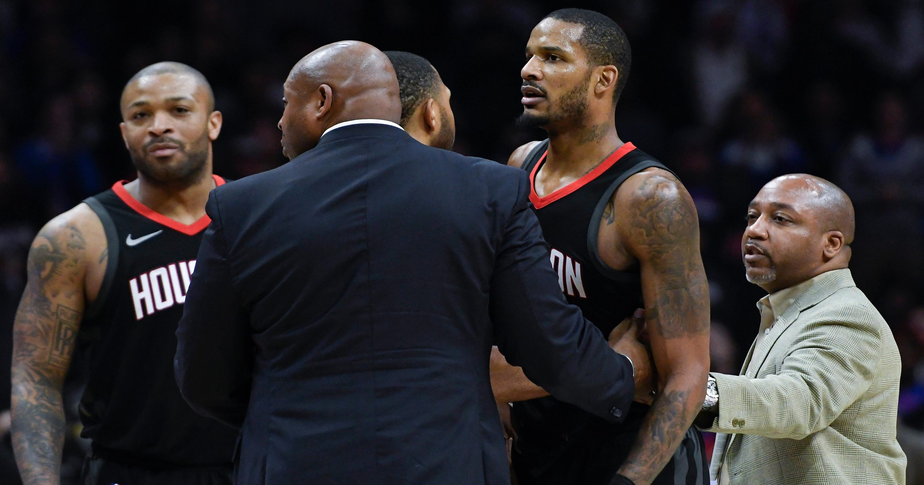 Rockets Players Try To Get Into Clippers Locker Room