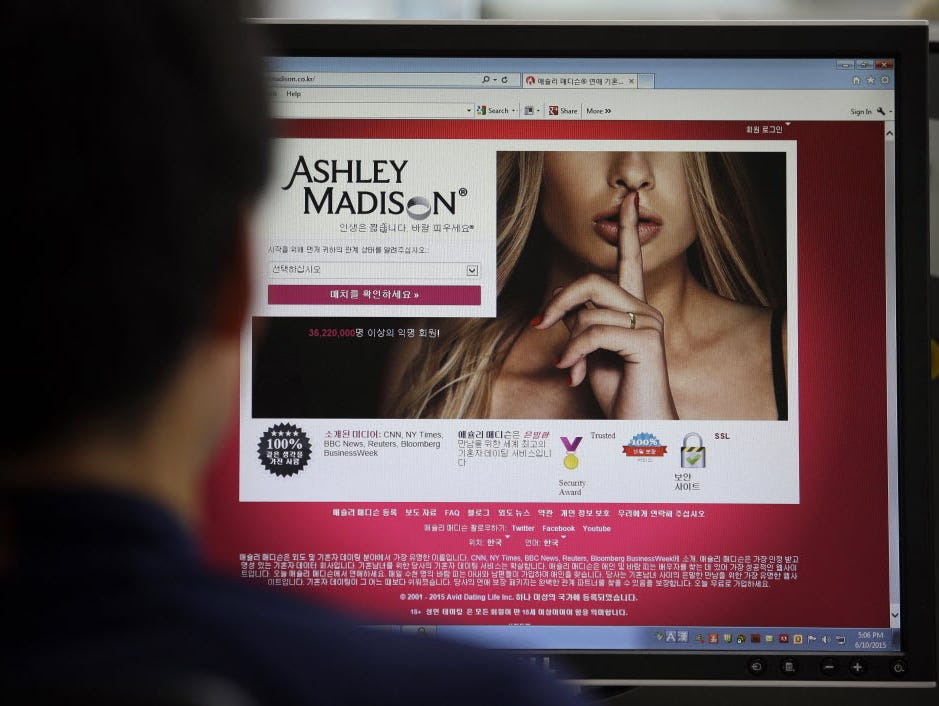In this June 10, 2015, photo, Ashley Madison's Korean website is shown on a computer screen in Seoul, South Korea.