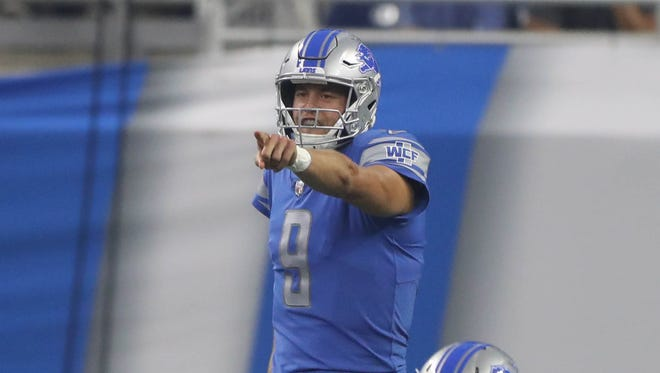 Lions quarterback Matthew Stafford calls a play against the Jets during the first quarter on Saturday, Aug. 19, 2017, at Ford Field.