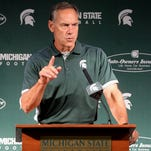 Michigan State Head Football Coach Mark Dantonio answers questions from reporters during Media Day for the football team Monday, August 10, 2015, at Spartan Stadium.