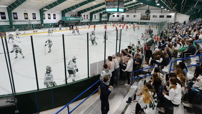 The Mercyhurst University and Ohio State men's hockey teams warm up as fans arrive at the Mercyhurst Ice Center in Erie on Oct. 25, 2019. Officials of the Atlantic Hockey Association, which includes the Mercyhurst men, announced Thursday that it will hold a 2020-21 season.