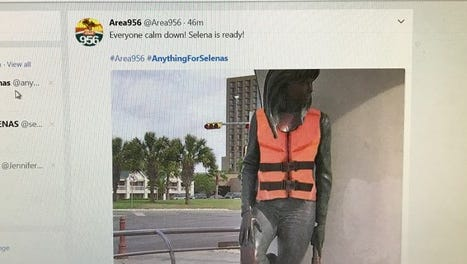 About 24 hours before Hurricane Harvey is expected to hit the Coastal Bend people took to the internet to create funny memes, including a photo of the Selena statue with a photoshopped life vest.