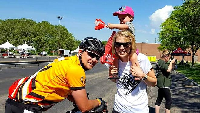 Adam and Samantha Konopski, of Painted Post, and their daughter Kinsley recently raised money for diabetes research by taking part in a bicycle tour.