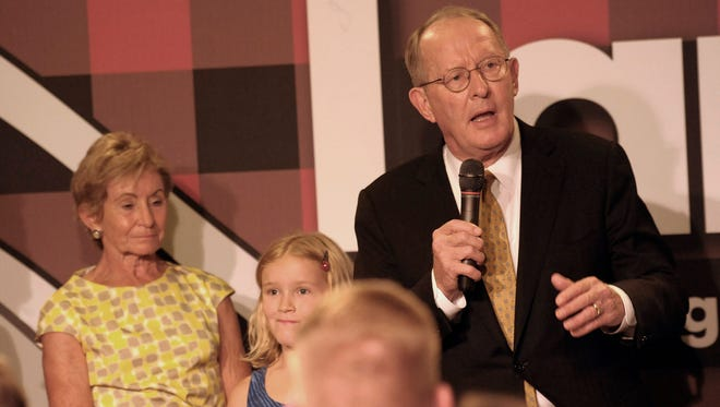 Sen. Lamar Alexander talks to his supporters after winning his race against Joe Carr Thursday in Nashville.