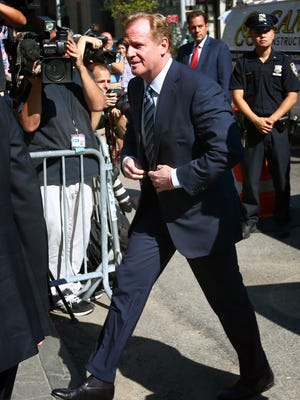 NFL commissioner Roger Goodell enters federal court Aug. 12 for a hearing over the legality of New England Patriots quarterback Tom Brady's four game suspension for his involvement in the Patriots alleged deflation of footballs prior to last season's AFC Championship Game against the Indianapolis Colts.