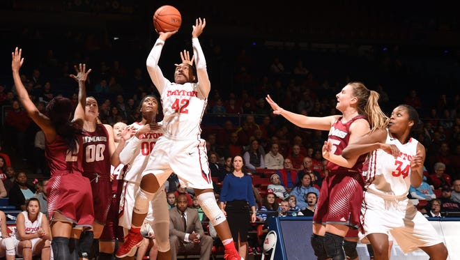 Jayla Scaife, a Central graduate, goes up for a shot during her freshman season at Dayton.
