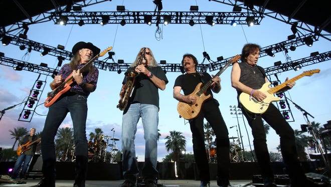 The Doobie Brothers perform at Stagecoach, California's country music festival.