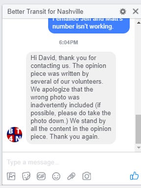 A message from Better Transit for Nashville regarding an opinion piece the group submitted using a fake name and a misappropriated photo.