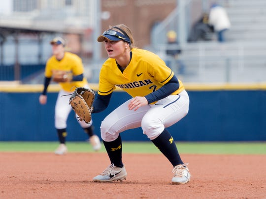 Senior first baseman Aidan Falk has amassed 190 hits in her four seasons at the University of Michigan, which came within one win of capturing the NCAA title when she was a freshman.
