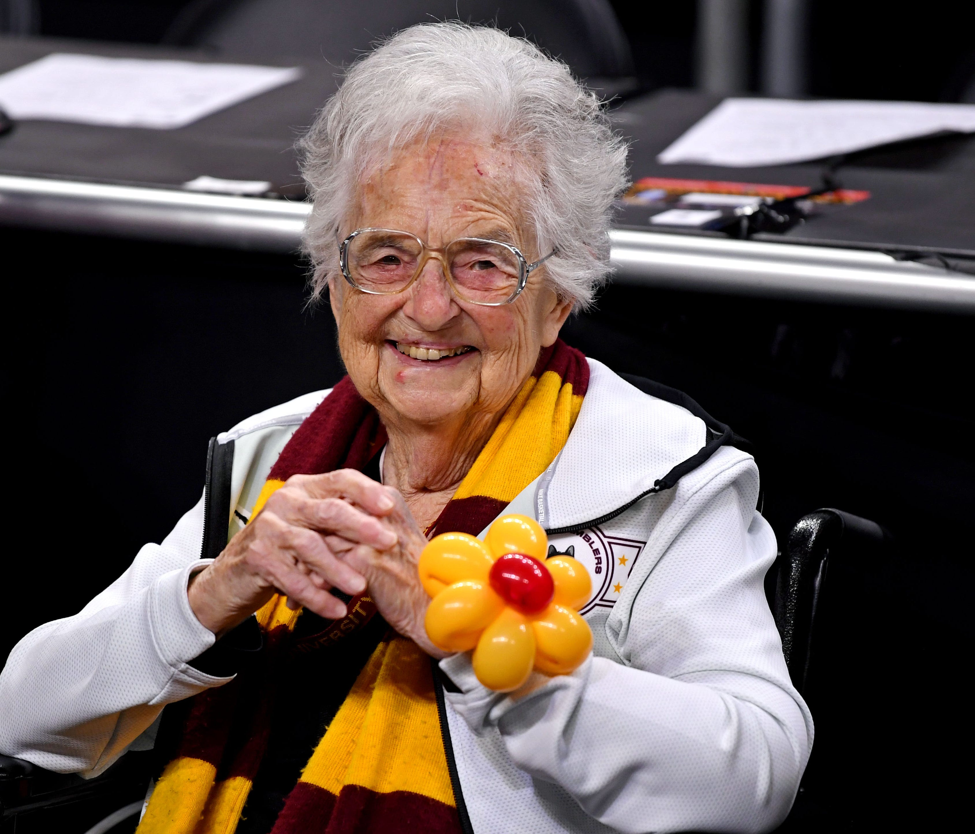 Loyola Ramblers team chaplain Sister Jean at the Final Four before tipoff.