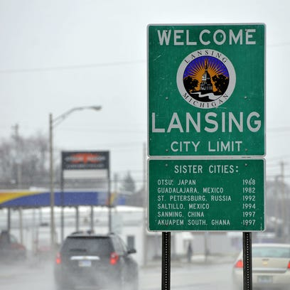 A Welcome to Lansing sign  in north Lansing  Monday