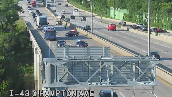 Traffic is tied up on northbound I-43 near Hampton Avenue Thursday morning where emergency pavement repairs were occurring.