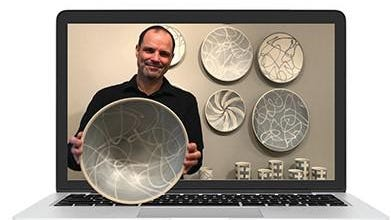 A graphic of porcelain artist Ryan Greenheck who will appear at the virtual Peters Valley craft fair in October. The fair, which normally is held at the Sussex County Fairgrounds, will be held virtually this year.