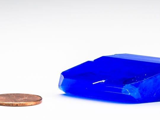 A bluestone crystal grown by Fond du Lac High School