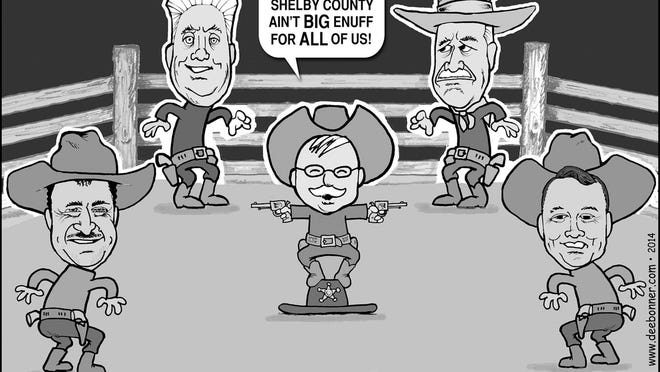 Shelbyville cartoonist Dee Bonner poked a little fun at the crowded Republican field for sheriff in Shelby County. Pictured from left are David Tilford, Perry Hewitt, Dennis Parks, Rob Jones and Roger Clark.