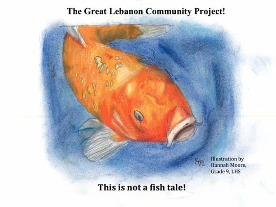 This drawing by Lebanon High School ninth grader Hannah Moore depicts Freddy the Fish, a talking goldfish who is the star of a children's storybook that Lebanon School District students will write throughout the year to document their participation in environmental projects that benefit the city.