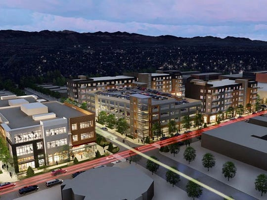 The rendering above shows plans for Loveland's downtown redevelopment project The Foundry.