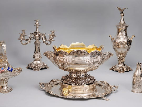 An ornate silver service went to see with the USS Montana.