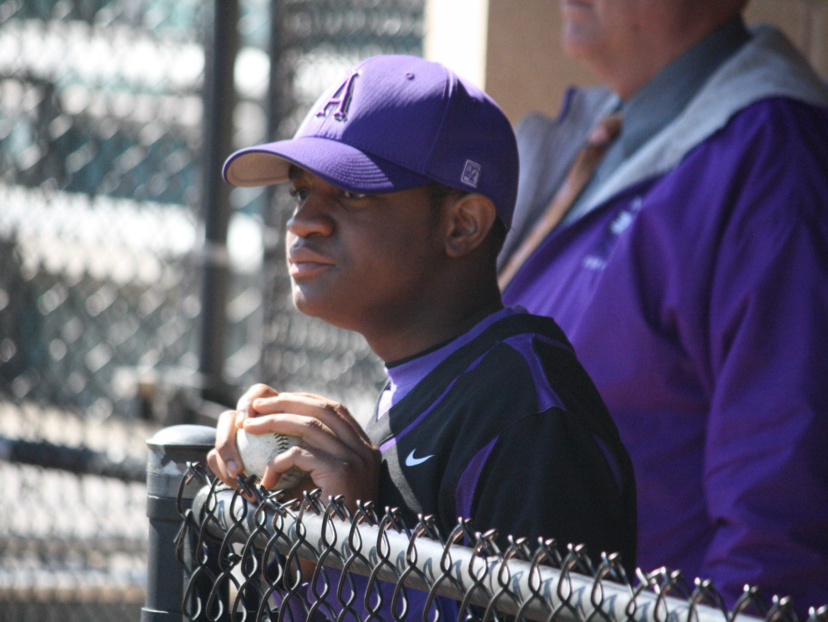 Aiken sophomore Kale Franklin watches from the dugout in his first game of the season against Western Hills on April 23.
