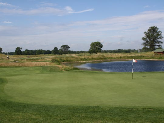 Hole 7 at Purgatory is a par-3 with at least three attack angles to the green, depending on the tee used.